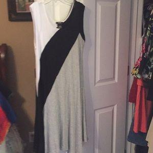Dress black grey and white